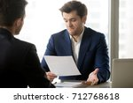 unsatisfied with contract terms ... | Shutterstock . vector #712768618