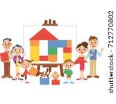 three generations family... | Shutterstock .eps vector #712770802