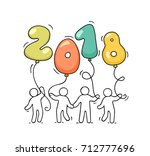 2018 happy new year background. ... | Shutterstock .eps vector #712777696