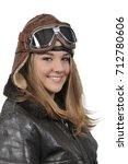 woman pilot wearing vintage... | Shutterstock . vector #712780606
