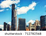 chicago city skyline with... | Shutterstock . vector #712782568