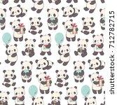 seamless pattern with cartoon... | Shutterstock .eps vector #712782715