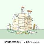 sketch of working little people ...   Shutterstock .eps vector #712783618