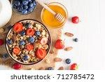 healthy breakfast concept with... | Shutterstock . vector #712785472