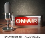 vintage microphone with...   Shutterstock . vector #712790182