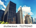 skyscrapers in downtown chicago ... | Shutterstock . vector #712792465