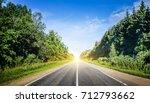 beautiful highway road. summer... | Shutterstock . vector #712793662