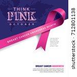breast cancer awareness month... | Shutterstock .eps vector #712801138