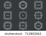 monogram line vintage frames.... | Shutterstock .eps vector #712802062
