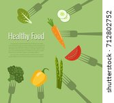 vegetables on forks. healthy...   Shutterstock .eps vector #712802752