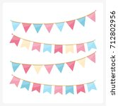 colorful bunting for decoration ... | Shutterstock .eps vector #712802956