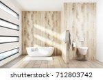 wooden luxury bathroom interior ... | Shutterstock . vector #712803742