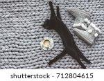 black cat sleeping on knitted... | Shutterstock . vector #712804615