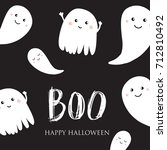 cute halloween invitation or... | Shutterstock .eps vector #712810492