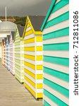 Small photo of Stripey beach huts
