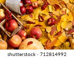 autumn background from yellow... | Shutterstock . vector #712814992