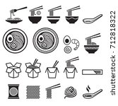 noodle icons set. vector... | Shutterstock .eps vector #712818322