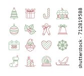 christmas symbols icon set  on... | Shutterstock .eps vector #712819588