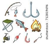 summer and winter fishing ...   Shutterstock .eps vector #712819696
