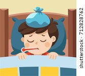 sick cute boy sleep in bed with ... | Shutterstock .eps vector #712828762