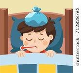 sick cute boy sleep in bed with ... | Shutterstock .eps vector #712828762