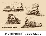 coal engine train sketch | Shutterstock .eps vector #712832272