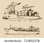 cargo ship sketch | Shutterstock .eps vector #712832278