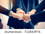 encourage unity in the team who ... | Shutterstock . vector #712833976