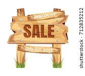 wooden sign board. sale...   Shutterstock .eps vector #712835212