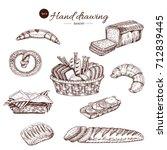 bakery monochrome hand drawn... | Shutterstock .eps vector #712839445