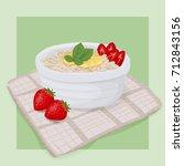 strawberry honey oatmeal... | Shutterstock .eps vector #712843156