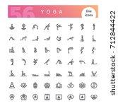 set of 56 yoga line icons... | Shutterstock .eps vector #712844422