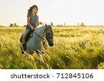 beauty brunette woman with... | Shutterstock . vector #712845106
