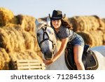 beauty brunette woman with... | Shutterstock . vector #712845136