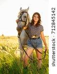 beauty brunette woman with... | Shutterstock . vector #712845142