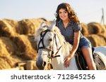 beauty brunette woman with... | Shutterstock . vector #712845256
