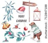 christmas illustration set.... | Shutterstock . vector #712847188