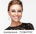 beautiful smiling woman with... | Shutterstock . vector #712847932