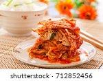 kimchi salad with rice  korean...   Shutterstock . vector #712852456