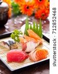 mixed sashimi set  japanese food | Shutterstock . vector #712852468
