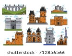 ancient european castles and... | Shutterstock .eps vector #712856566