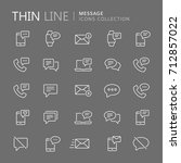 collection of message thin line ... | Shutterstock .eps vector #712857022