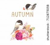 autumn card with birds... | Shutterstock .eps vector #712875058