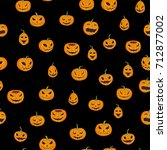 seamless halloween pattern with ... | Shutterstock .eps vector #712877002