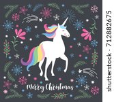 merry christmas greeting card... | Shutterstock .eps vector #712882675