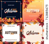 autumn background with leaves... | Shutterstock .eps vector #712885675