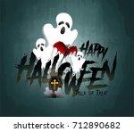 happy halloween vector... | Shutterstock .eps vector #712890682