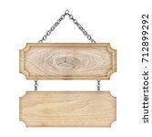 wooden sign hanging on a chain... | Shutterstock . vector #712899292