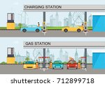 two horizontal banners with... | Shutterstock .eps vector #712899718