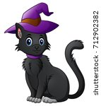 Stock photo cartoon black cat in a halloween hat 712902382
